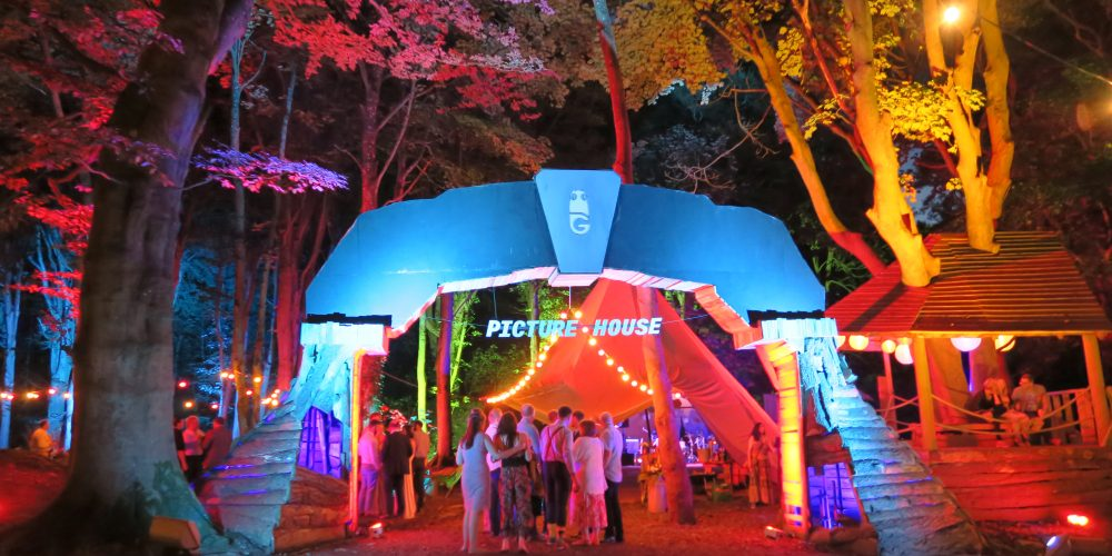 Outdoor-festival-wedding-with-coloured-tree-lighting-and-festoon-lights