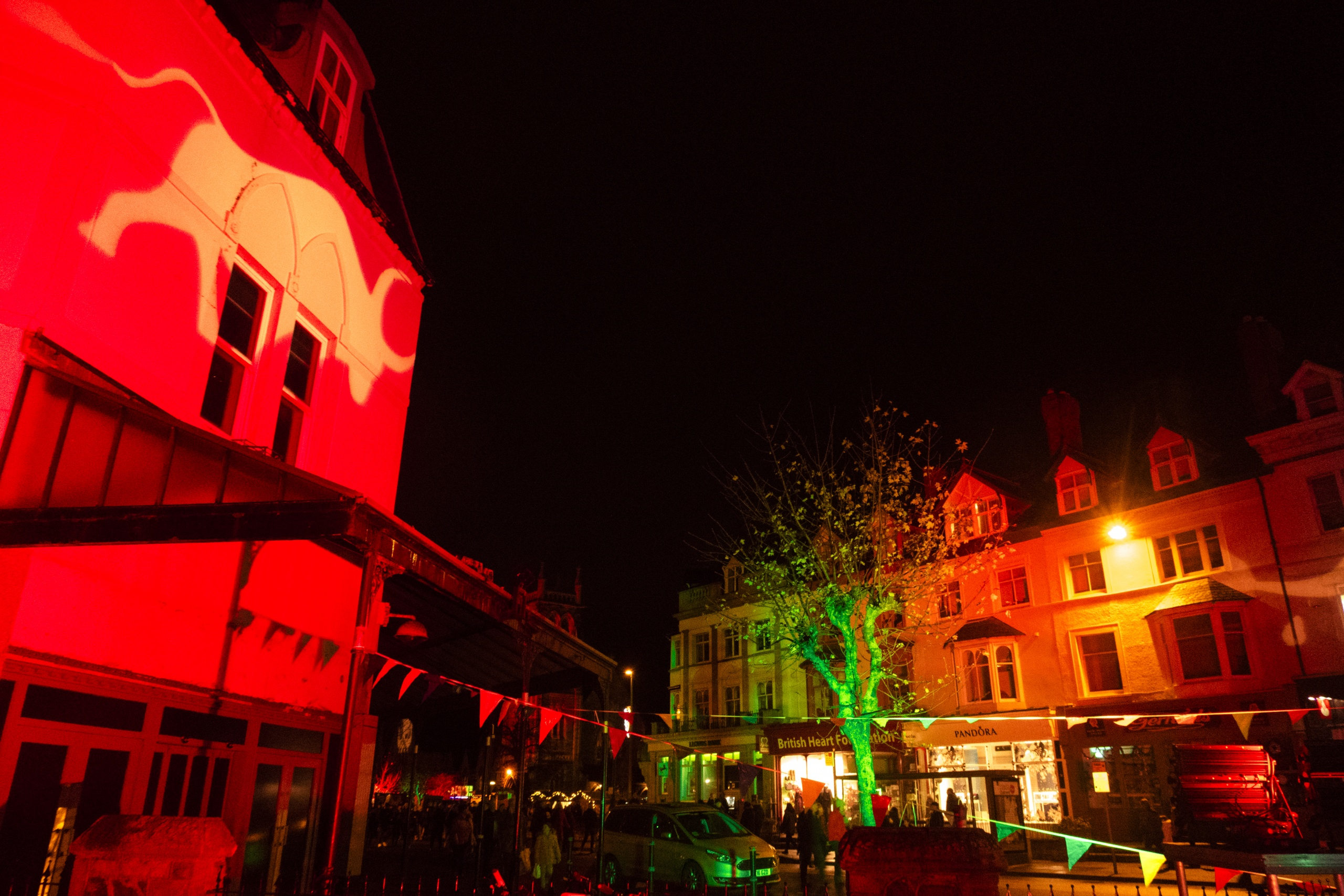 Coloured outdoor lighting and gobo projection at the Llandudno Winter Light / Golau Gaeaf event, in North Wales. A building on Mostyn Street is illuminated in red with a white gobo of an ox. Tree is up-lit in green.
