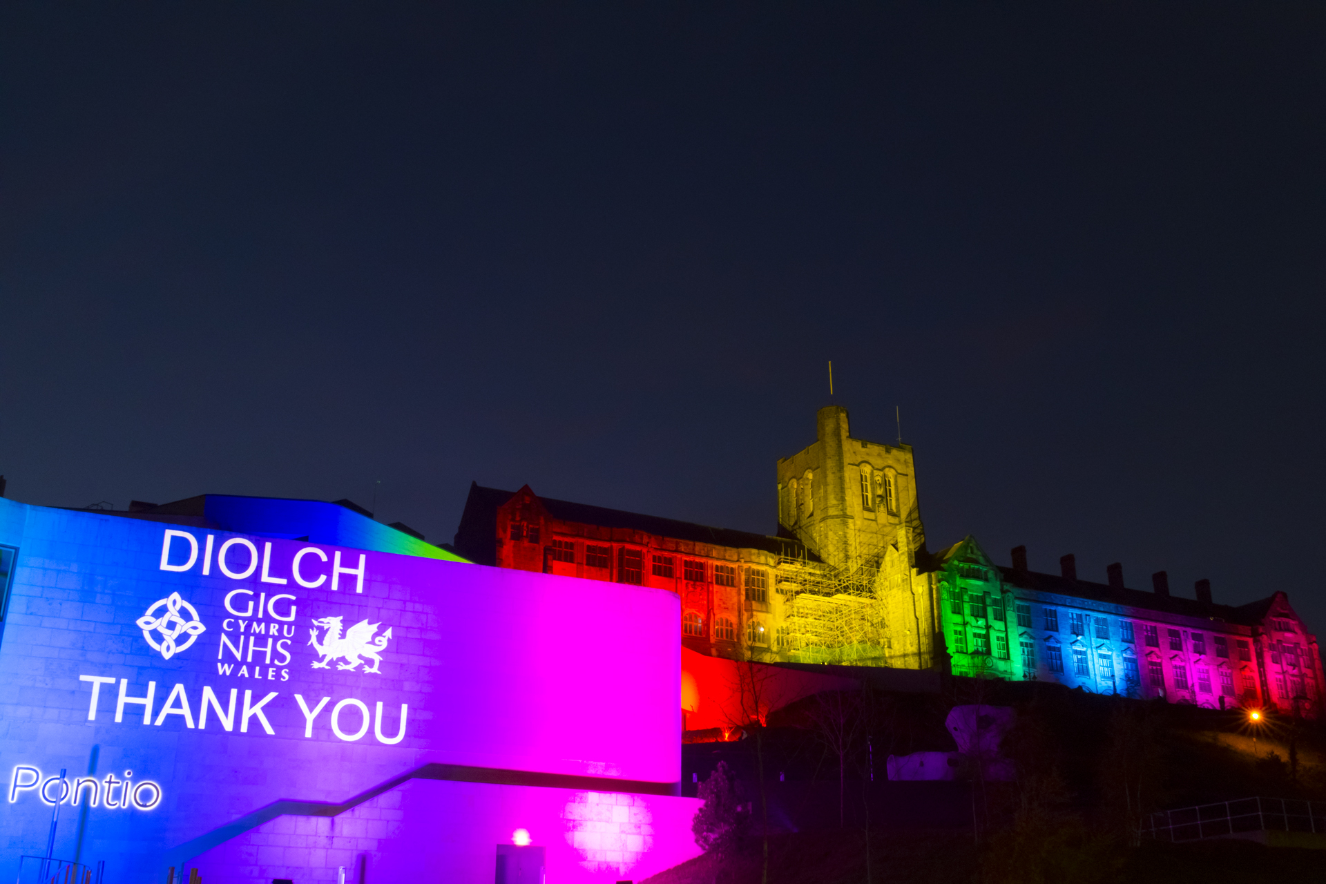 Outdoor rainbow lighting and projection at Pontio Theatre & Bangor university - thank you to NHS