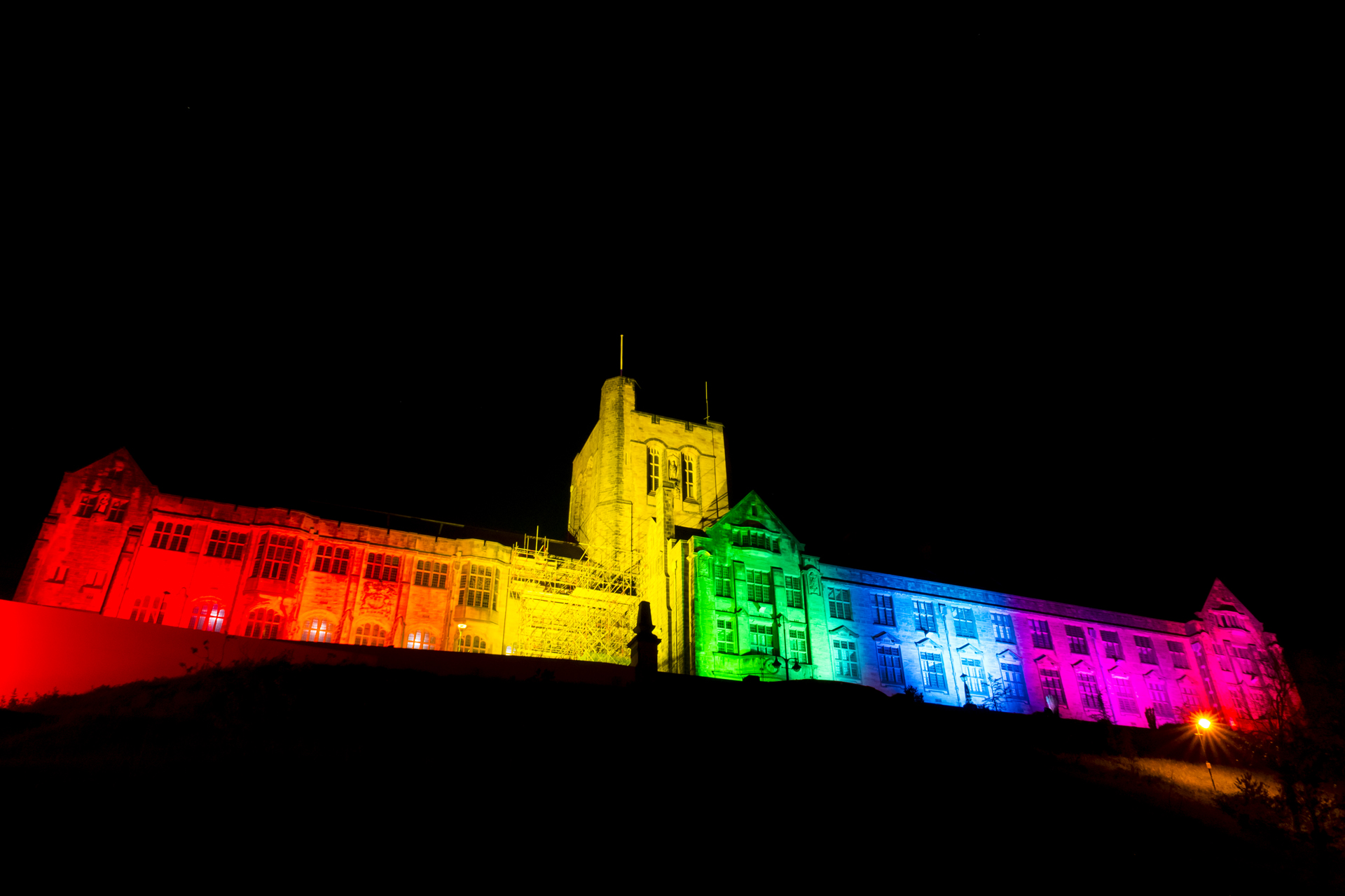 Outdoor rainbow lighting for NHS at Bangor university