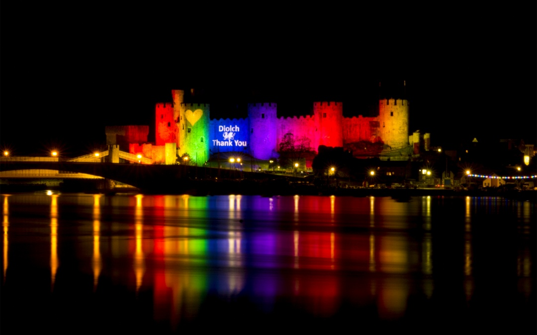 Conwy Castle Illuminated with Rainbow Lights
