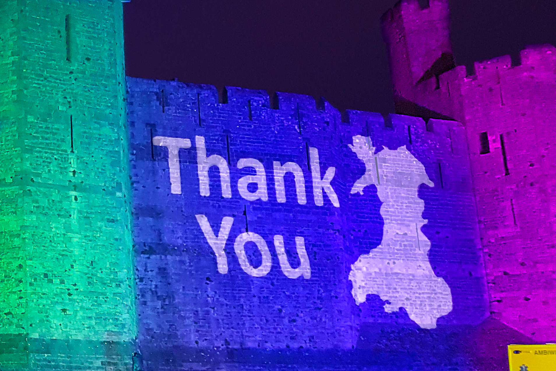Caernafon Castle Rainbow Lighting Lit NHS Projection Mapping 4612 5