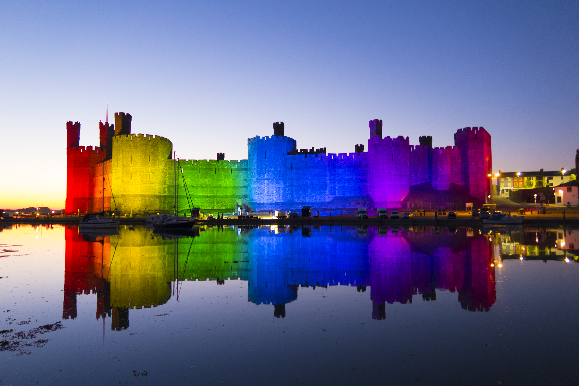 Caernafon Castle Rainbow Lighting Lit NHS