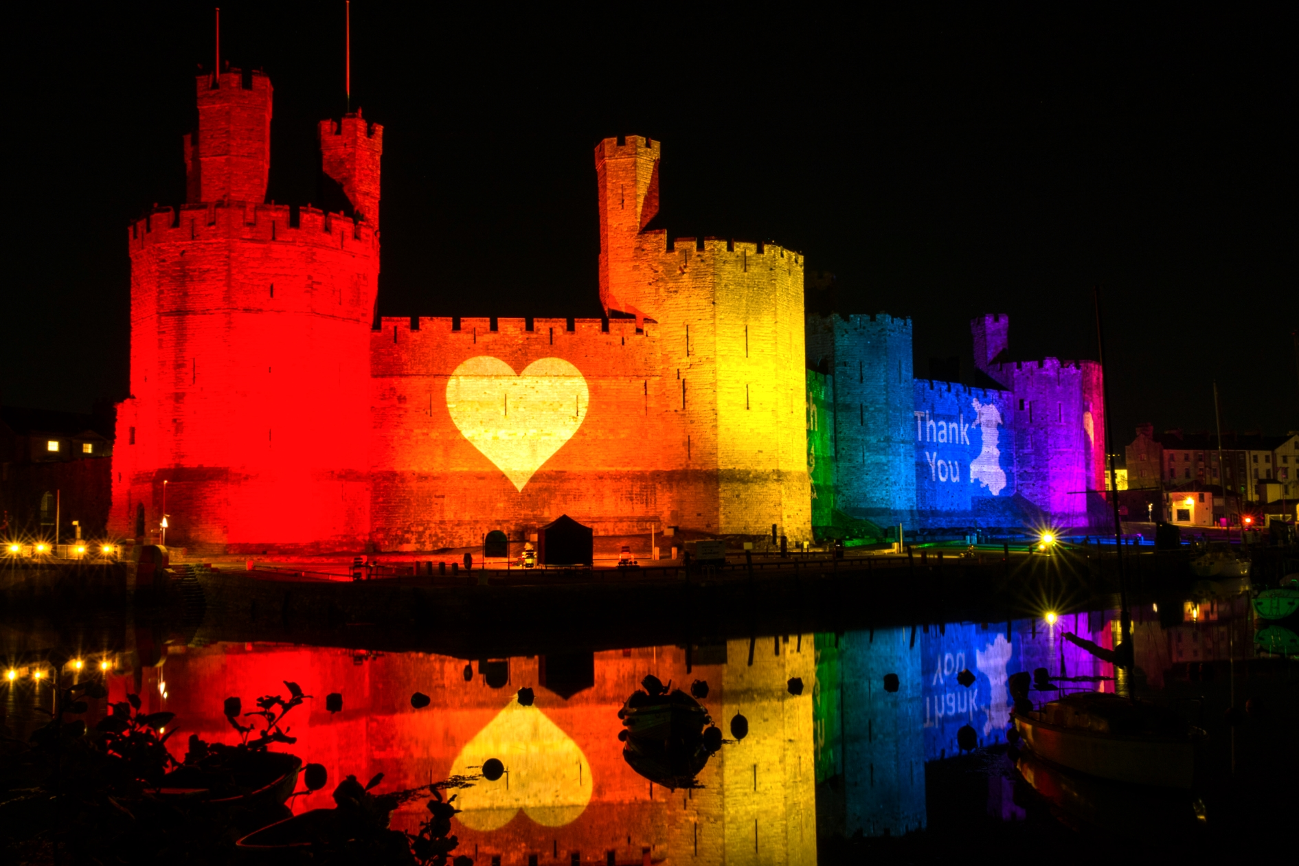 Caernafon Castle Rainbow Lighting Lit NHS 2670
