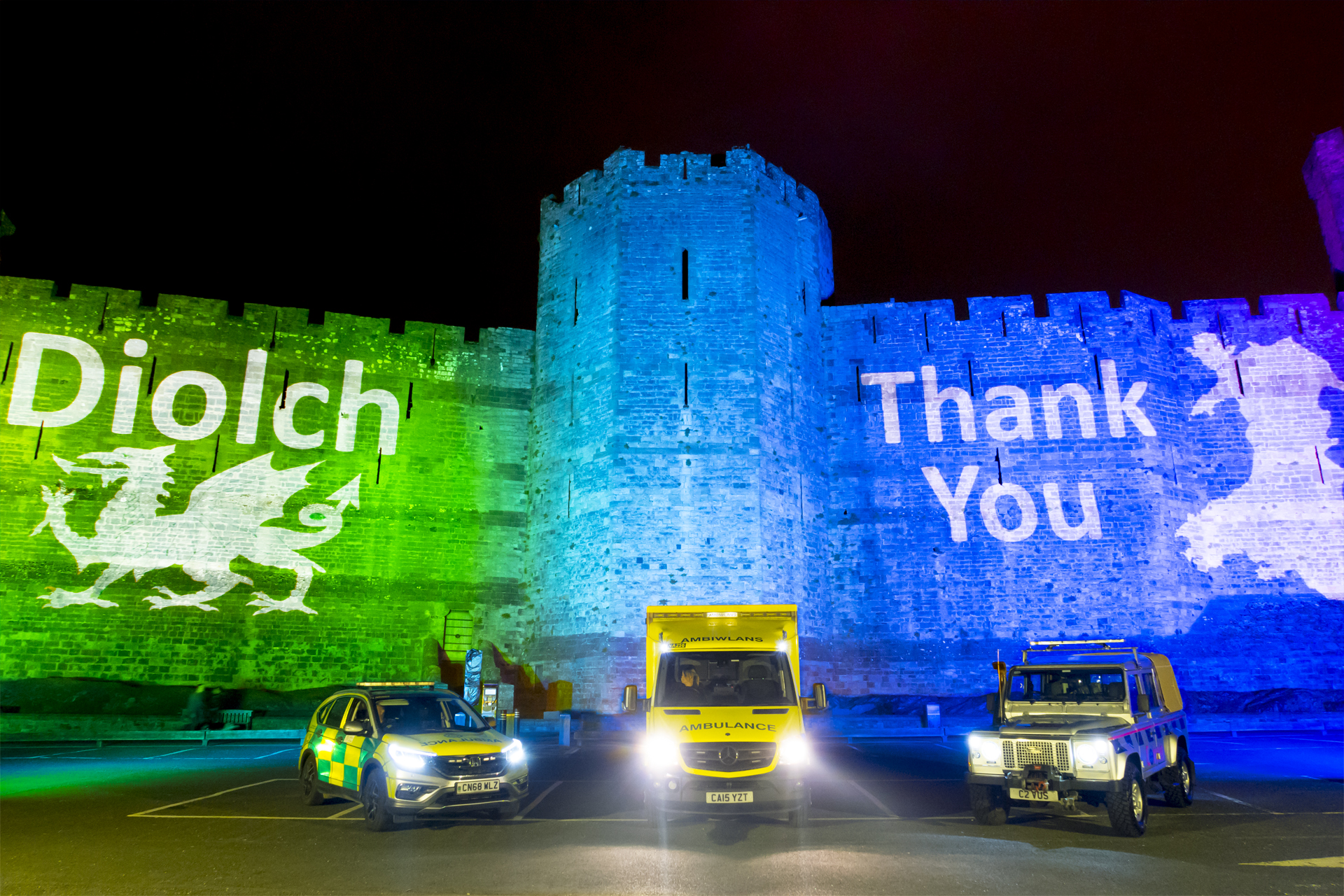 Caernafon Castle Rainbow Lighting Lit NHS Projection Mapping