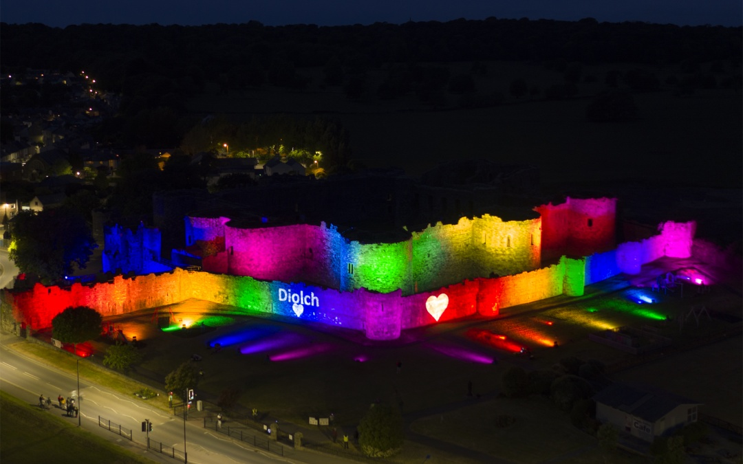 Beaumaris Castle Lit up with Rainbow Lighting – Thank-you NHS