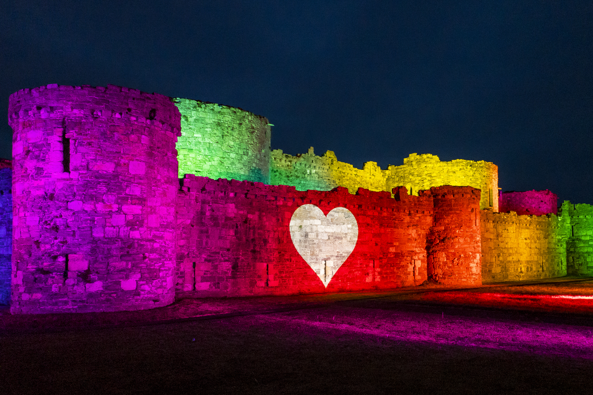 Beaumaris Castle Rainbow Lights Lighting Up Outdoor Projection NHS