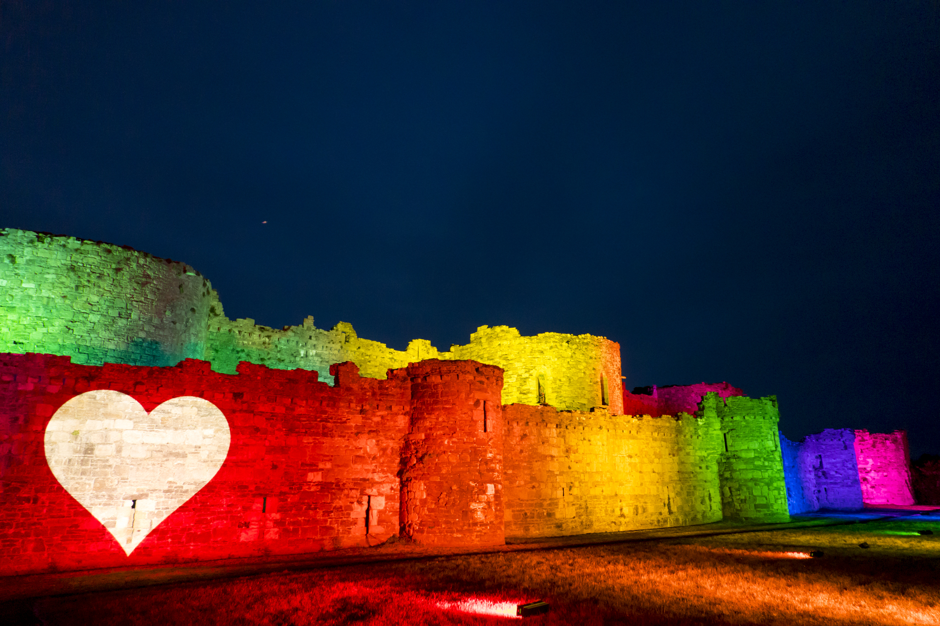 Beaumaris Castle Rainbow Lights Lighting Up NHS