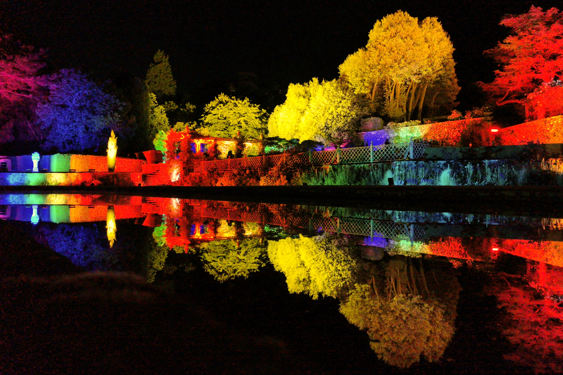 Bodnant Garden Lit Lighting Terrace Lily Pond Pin Mill 2321