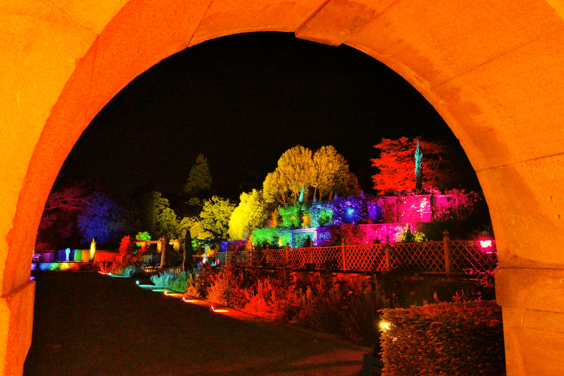 Bodnant Garden Lit Lighting Terrace Pin Mill 2904