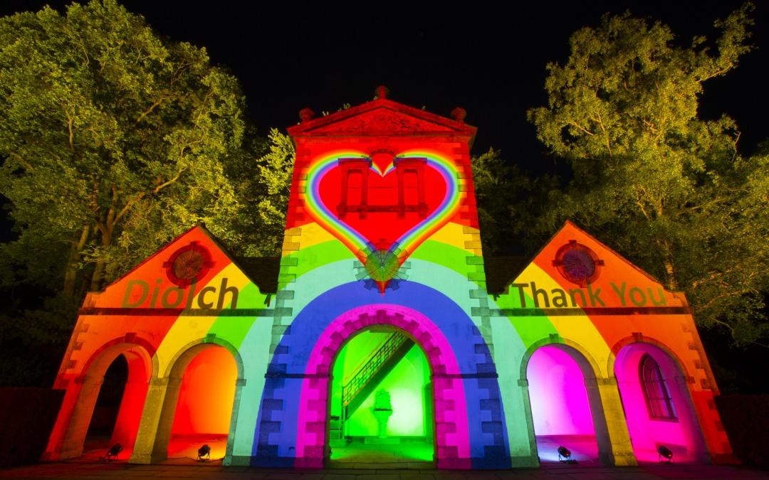 Bodnant Garden Lit Up with Rainbow Lights