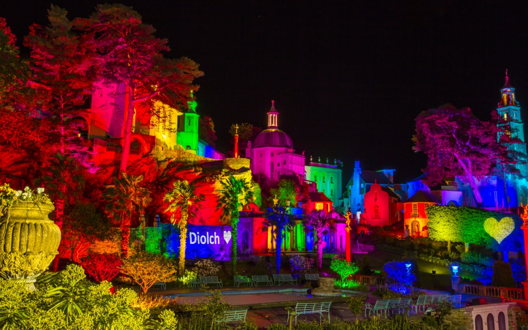 Portmeirion Village Illuminated with Rainbow Lights