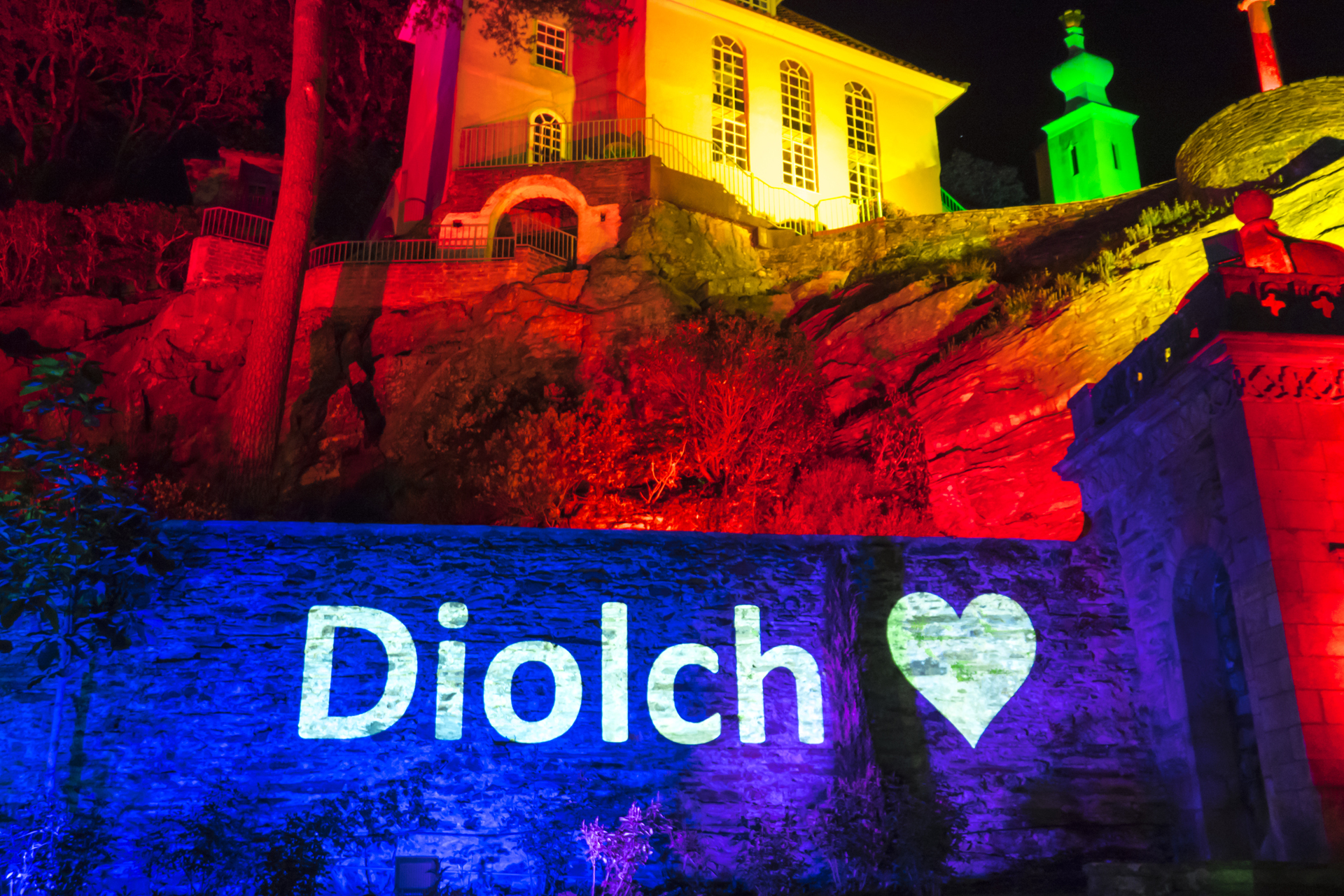 Portmeirion Rainbow Lights Lighting Up Outdoor Projection NHS