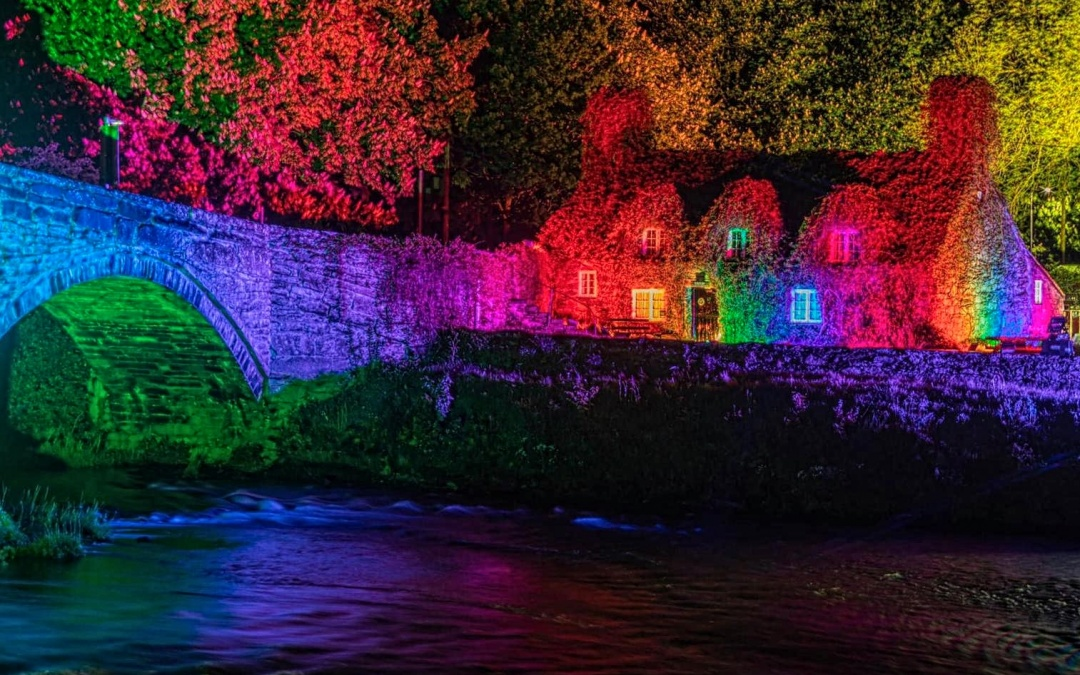 Llanrwst Bridge & Tea Room Illuminated with Rainbow Lights