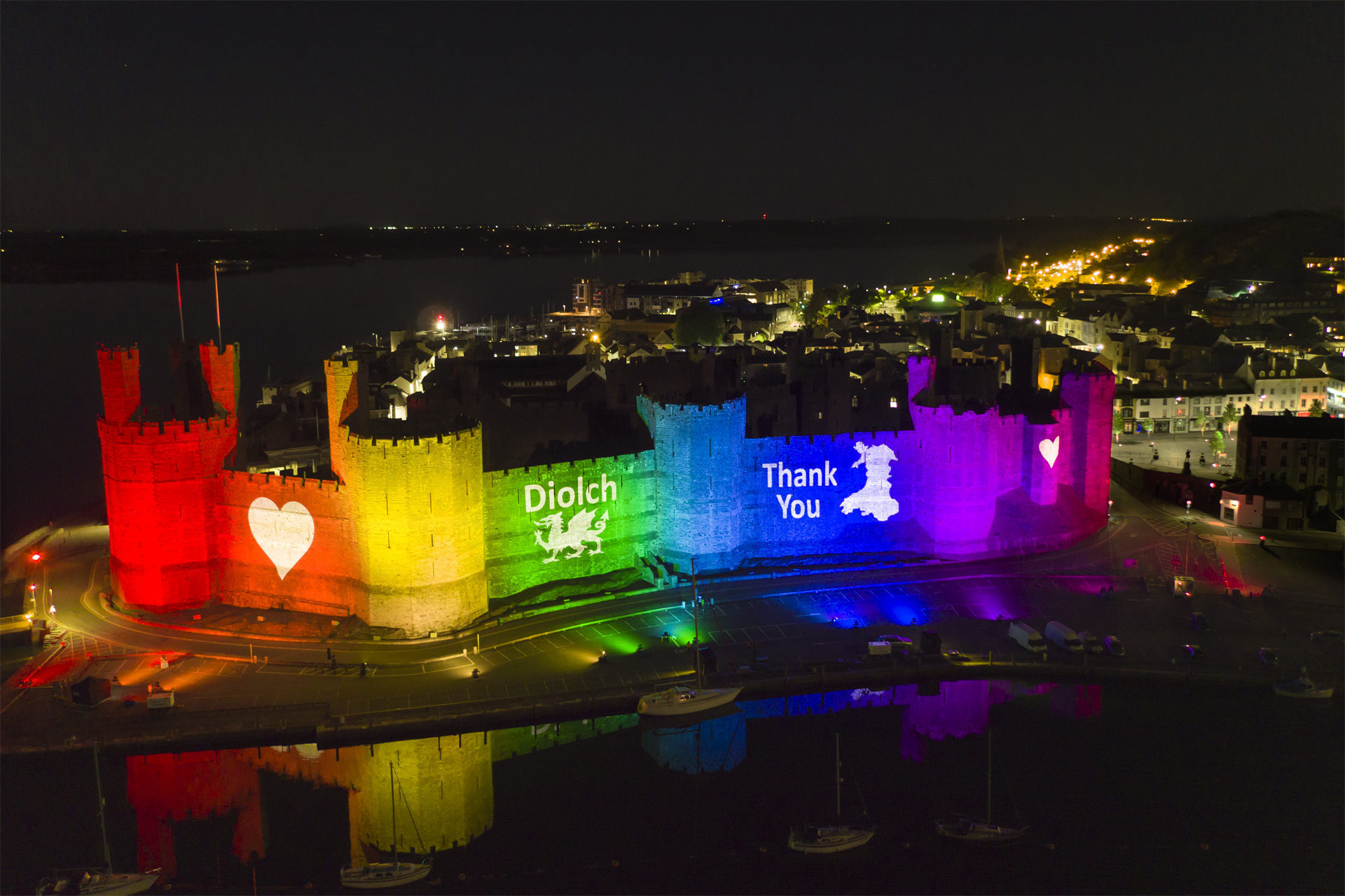 Caernarfon Castle Lit Rainbow Lights Lighting NHS 0160D3