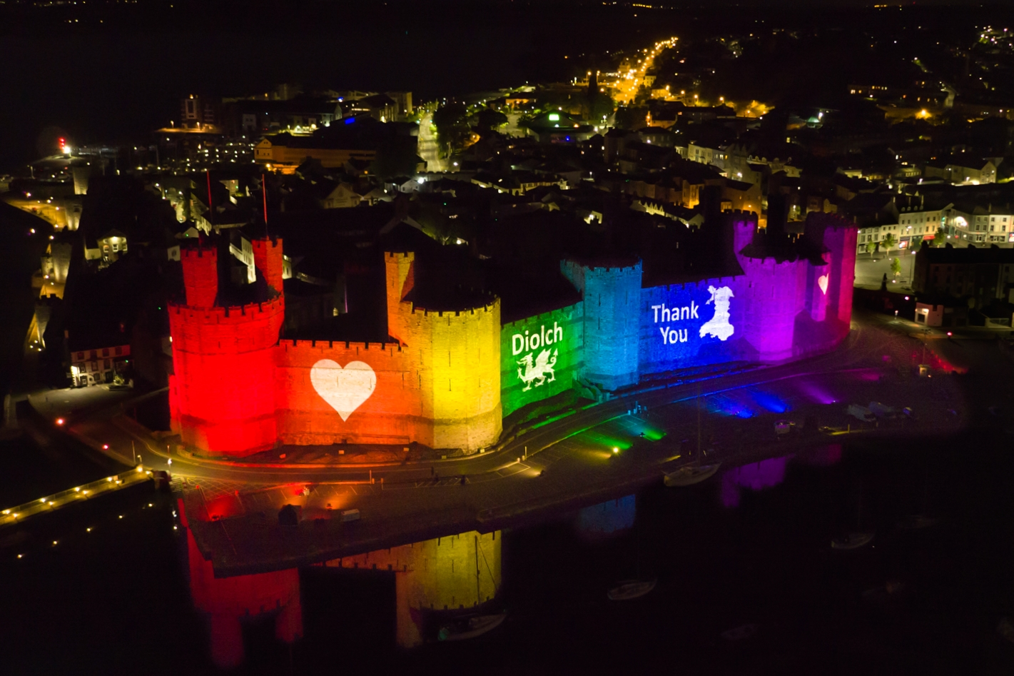 Caernarfon Castle Lit Rainbow Lights Lighting NHS 0176DIP